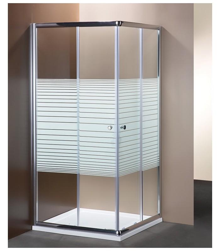 Box Doccia Serigrafato.Box Doccia Angolare In Cristallo Serigrafato Da 6 Mm Profilo Cromo Brillante